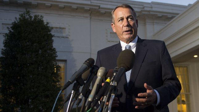 Speaker of the House John Boehner (R-OH) speaks to the media after meeting with President Obama and fellow congressional leaders at the White House in Washington on October 2, 2013. The Democrats and Republicans have failed to reach a decision on the budget bill forcing a second day of government shutdown. UPI/Kevin Dietsch