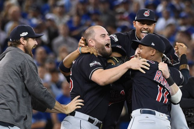 The Cleveland Indians celebrate winning the American League Championship Series against the Toronto Blue Jays at Rogers Centre on October 19, 2016. Cleveland defeated Toronto 3-0 to capture the American League championship in five games. The Indians will face the winner of the Chicago Cubs-Los Angeles Dodgers National League championship. Photo by Darren Calabrese/UPI