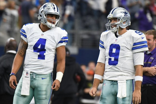 Dak Prescott (L) became the Dallas Cowboys' starting quarterback in 2016, replacing Pro Bowler Tony Romo (R). File Photo by Ian Halperin/UPI