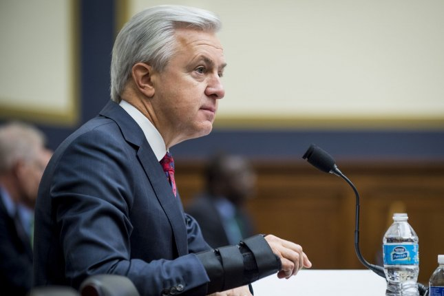 In addition to the fine, former Wells Fargo CEO John Stumpf was barred from ever working at a bank again. File Photo by Pete Marovich/UPI