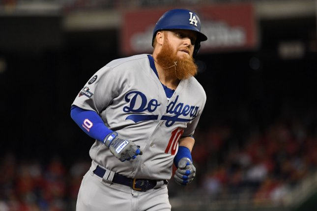 Los Angeles Dodgers third baseman Justin Turner (pictured) said MLB commissioner Rob Manfred is out of touch with current players in the league. File Photo by Pat Benic/UPI