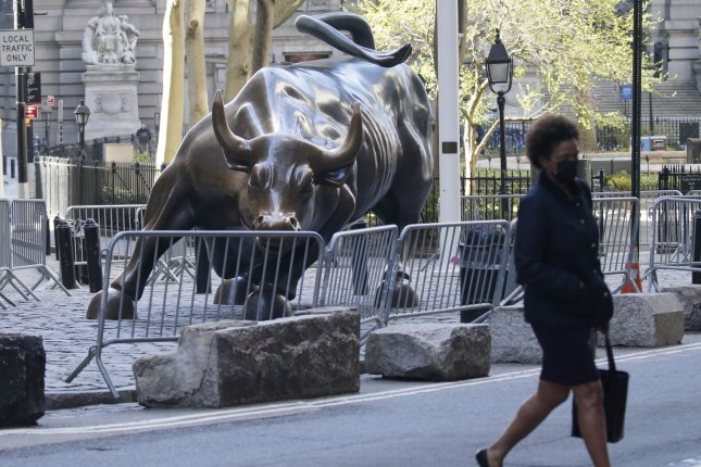 The Charging Bull statue is seen on Monday near the New York Stock Exchange on Wall Street in New York City. Photo by John Angelillo/UPI