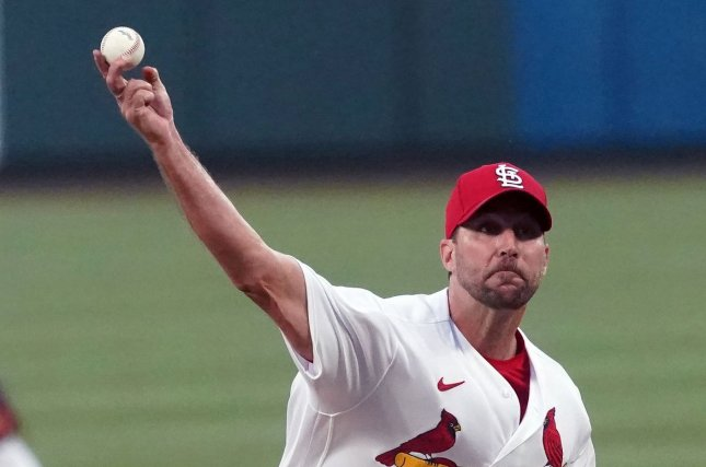 St. Louis Cardinals starting pitcher Adam Wainwright delivers a pitch to the Miami Marlins in the first inning Monday at Busch Stadium in St. Louis, Mo. Photo by Bill Greenblatt/UPI