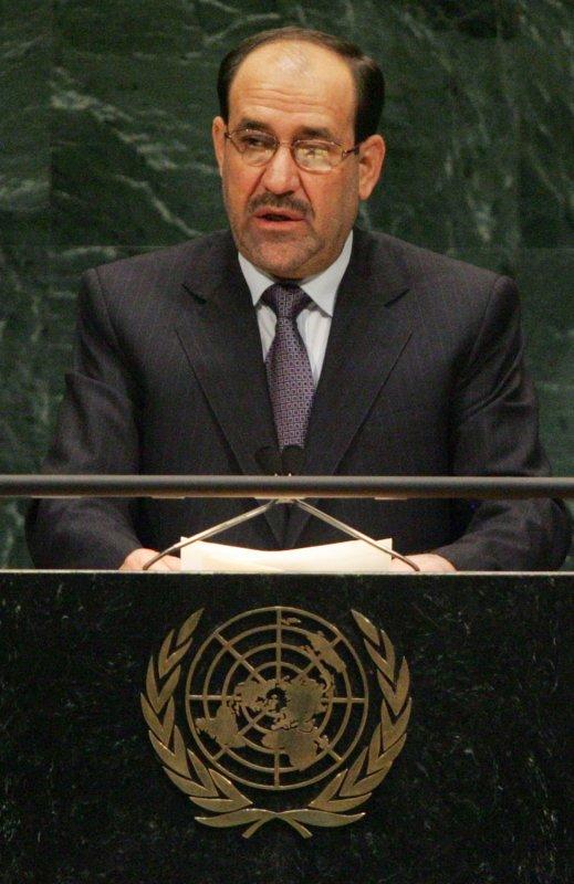 Nuri Kamel Al-Maliki, prime minister of the Iraq, addresses the 62nd General Assembly at the United Nations on September 26, 2007 in New York City. (UPI Photo/Monika Graff)