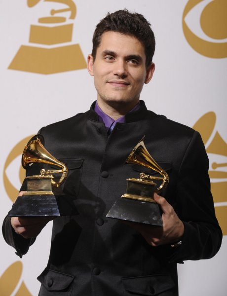 John Mayer holds his Grammy Awards for Best Male Pop Vocal Performance and Best Pop Collaboration with Vocals at the 51st annual Grammy Awards at the Staples Center in Los Angeles on February 8, 2009. (UPI Photo/ Phil McCarten)
