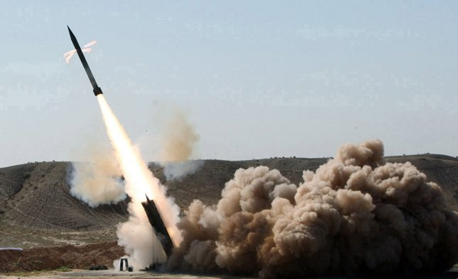 A Zelzal rocket is launched during a test in Iran on September 27, 2009. UPI/Raof Mohseni/Mehr News Agency