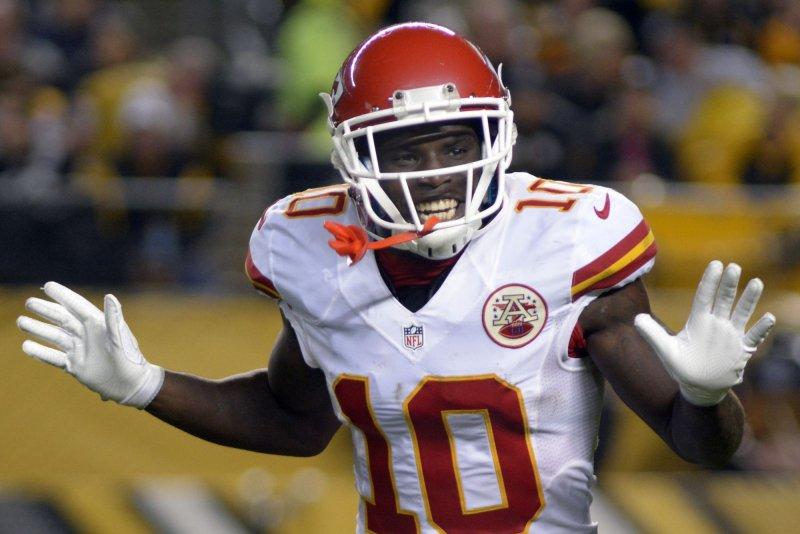 Kansas City Chiefs wide receiver Tyreek Hill (10). Photo by Archie Carpenter/UPI
