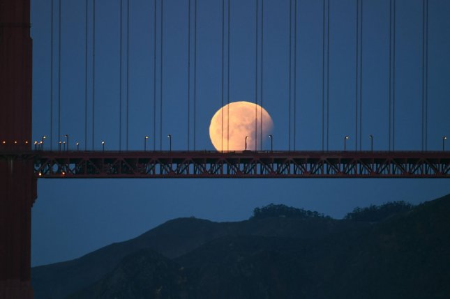 A super blue moon sets behind the Golden Gate Bridge in San Francisco on January 31. It was the first time in 152 years that there was an eclipse of a super blue moon. Photo by Terry Schmitt/UPI