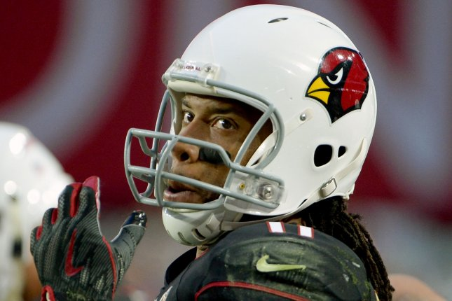 Arizona Cardinals receiver Larry Fitzgerald glances at the scoreboard during a game against the Detroit Lions at State Farm Stadium in Glendale, Arizona on December 9, 2018. Photo by Art Foxall/UPI