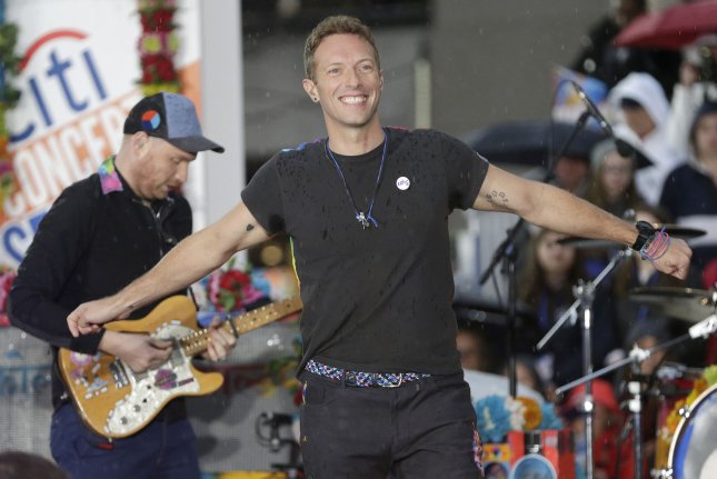 Chris Martin of Coldplay. The singer said the band won't be going on tour due to environmental concerns. File Photo by John Angelillo/UPI