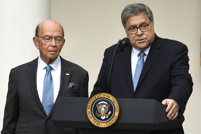 A federal judge on Friday rejected a Department of Justice request to delay a lawsuit by the House Oversight Committee against Commerce Secretary Wilbur Ross (L) and Attorney General William Barr (R). File Photo by Mike Theiler/UPI