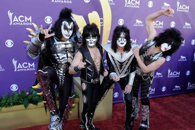 Musicians Gene Simmons, Eric Singer, Tommy Thayer and Paul Stanley, of KISS, arrive at the 47th annual Academy of Country Music Awards in 2012. A new documentary will take fans behind the scenes of their five-decade journey. File Photo by David Becker/UPI