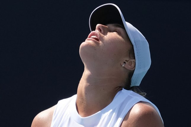 Croatia's Donna Vekic upset No. 3 Aryna Sabalenka from Belarus (pictured) in three sets in the women's singles tennis tournament at the 2020 Summer Games on Monday in Tokyo. File Photo by Gary I Rothstein/UPI