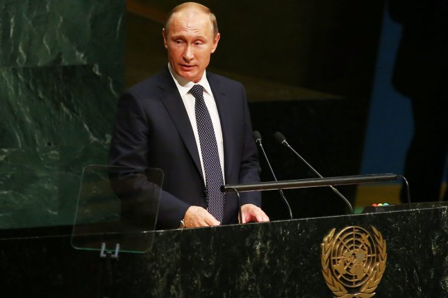 Russian President Vladimir Putin, seen here addressing the United Nations, is accused of possibly directing a scheme to interfere with the 2016 U.S. presidential election through cyberattacks. Putin's spokesman, Dmitry Peskov, on Monday called the conclusion by U.S. intelligence agencies absolutely unfounded and amateurishly emotional. File Photo by Monika Graff/UPI