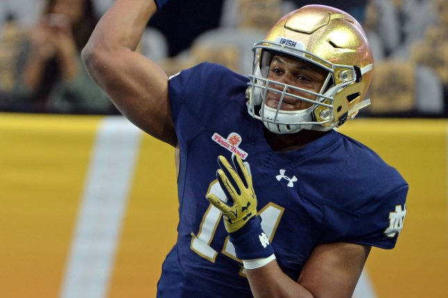 Former Notre Dame quarterback DeShone Kizer is not projected to be a first-round pick by most NFL Draft analysts. The 2017 NFL Draft begins April 27 in Philadelphia. File photo by Art Foxall/UPI