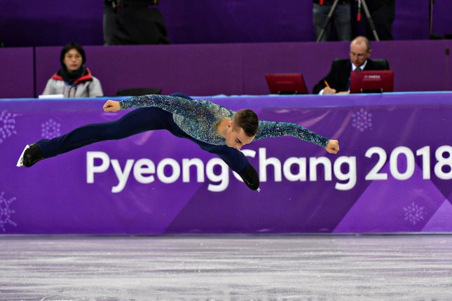 Adam Rippon of the United States competes in the finals for the Men's Single Skating Short Program during the Pyeongchang 2018 Winter Olympics Saturday at the Gangneung Ice Arena in Gangneung, South Korea. Photo by Richard Ellis/UPI