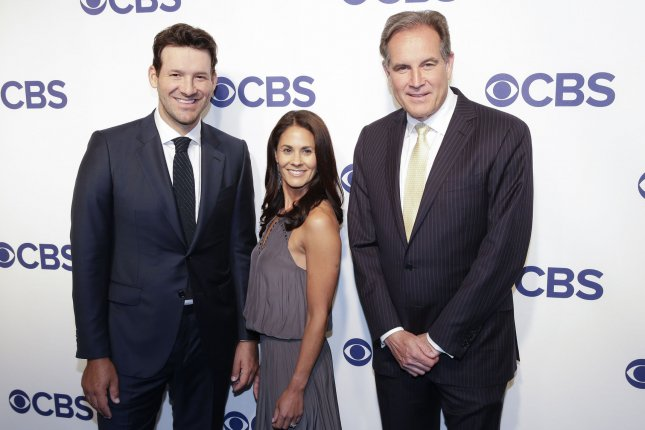 Tony Romo, Tracy Wolfson and Jim Nantz arrive on the red carpet for the 2018 CBS Upfront on May 16 at The Plaza Hotel. Romo is set to play in his second PGA Tour event in May. File Photo by John Angelillo/UPI