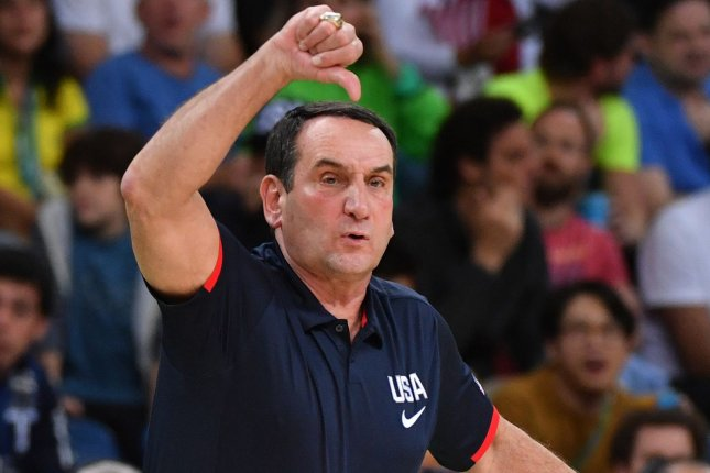 Duke Blue Devils coach Mike Krzyzewski and the team had some raw emotions after their Elite eight loss to Michigan State on Sunday. File Photo by Kevin Dietsch/UPI