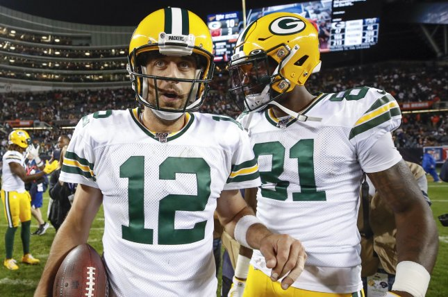 Green Bay Packers quarterback Aaron Rodgers (12) and wide receiver Geronimo Allison (81) connected three times for 52 yards and a touchdown in Week 4 against the Philadelphia Eagles. Photo by Kamil Krzaczynski/UPI