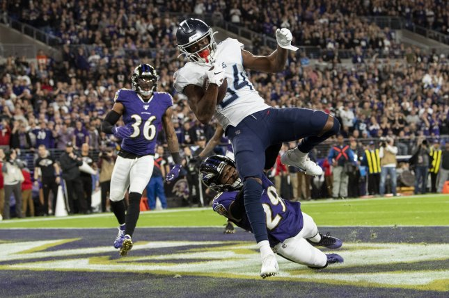 Tennessee Titans wide receiver Corey Davis (84) had 43 receptions for 601 yards and two touchdowns last season. File Photo by Kevin Dietsch/UPI