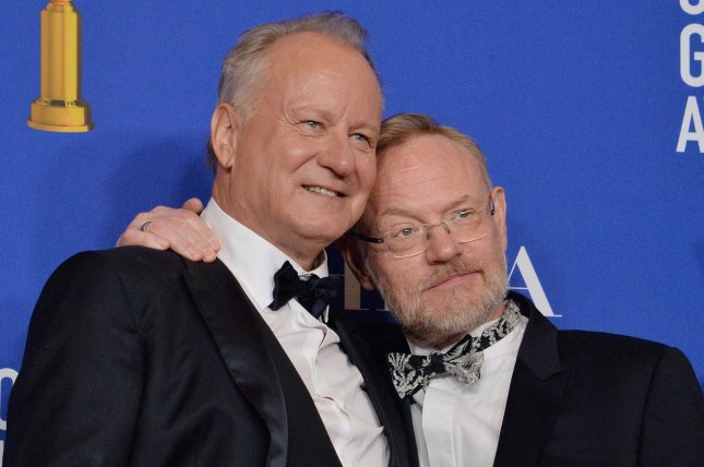 Chernobyl stars Stellan Skarsgard (L) and Jared Harris appear backstage during the 77th annual Golden Globe Awards. Chernobyl has been nominated for 14 BAFTA TV awards. File Photo by Jim Ruymen/UPI
