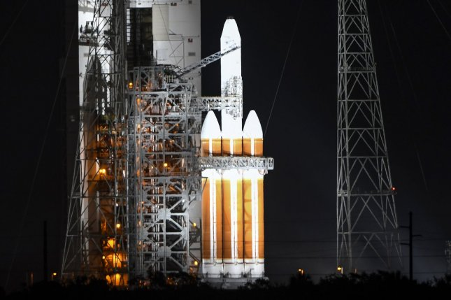 The launch of a United Launch Alliance Delta IV Heavy rocket was postponed Saturday at Cape Canaveral Air Force Station in Florida. Photo by Joe Marino/UPI