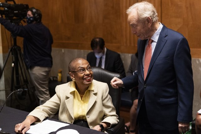 Delegate Eleanor Holmes Norton and former Sen. Joe Lieberman chat before they testify at the Senate Homeland Security and Governmental Affairs hearing on Capitol Hill in Washington, D.C., on Tuesday. Photo by Tasos Katopodis/UPI