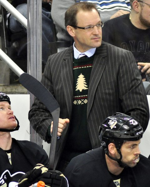 Pittsburgh Penguins Coach Dan Bylsma, shown in a December 2011 game, was given a two-year contract extenion by the NHL team Wednesday. UPI/Archie Carpenter