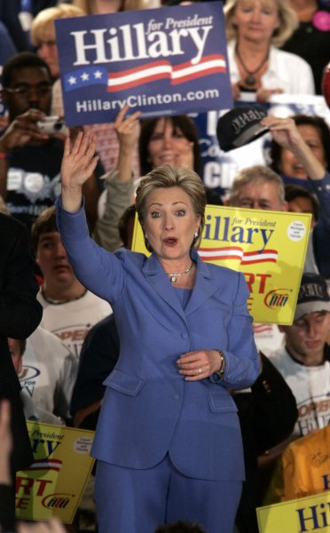 Democratic presidential hopeful Sen. Hillary Clinton (D-N.Y.) waves to supporters after an Indiana primary night party in Indianapolis on May 6, 2008. (UPI Photo/Mark Cowan)