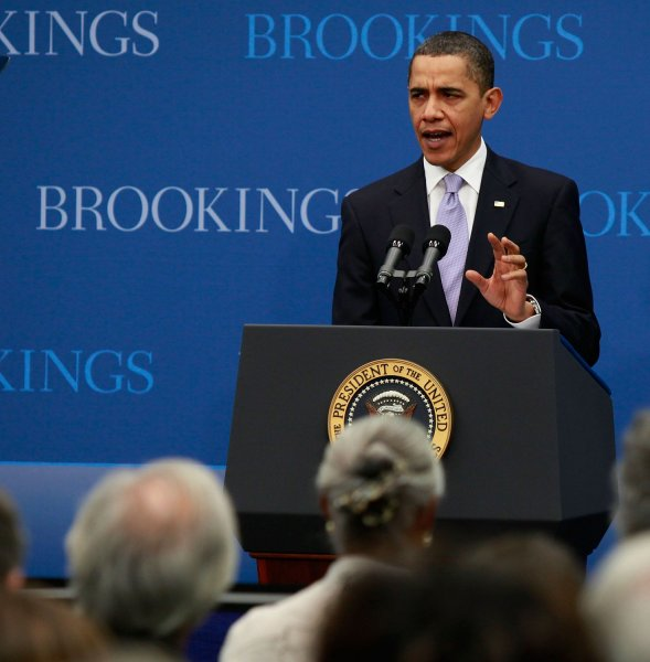 U.S. President Barack Obama speaks about job creation and economic growth at the Brookings Institution in Washington on December 8, 2009. President Obama said that he hopes new jobs will be created with the implementation of clean energy investments, small business tax credits and infrastructure funding. UPI/Mark Wilson/Pool
