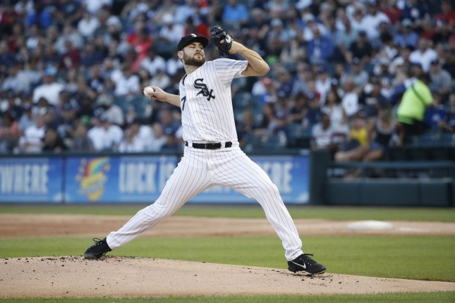 Chicago White Sox starting pitcher Lucas Giolito delivers against the New York Yankees in the first inning on August 8, 2018 at Guaranteed Rate Field in Chicago. Photo by Kamil Krzaczynski/UPI