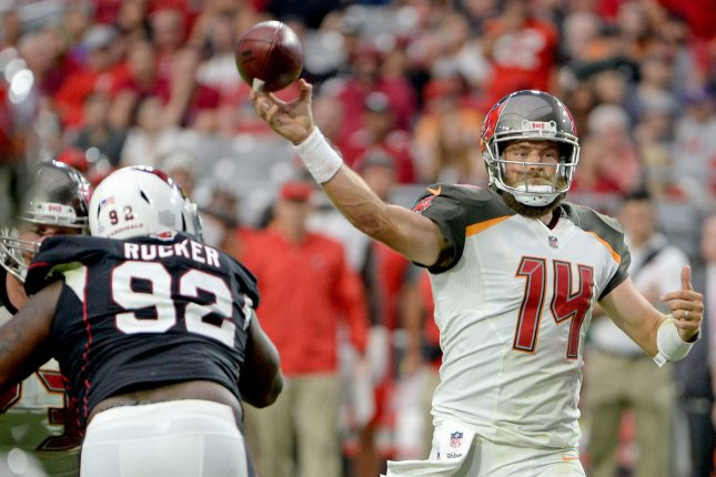Tampa Bay Buccaneers quarterback Ryan Fitzpatrick throws a pass during a game against the Arizona Cardinals. Photo by Art Foxall/UPI