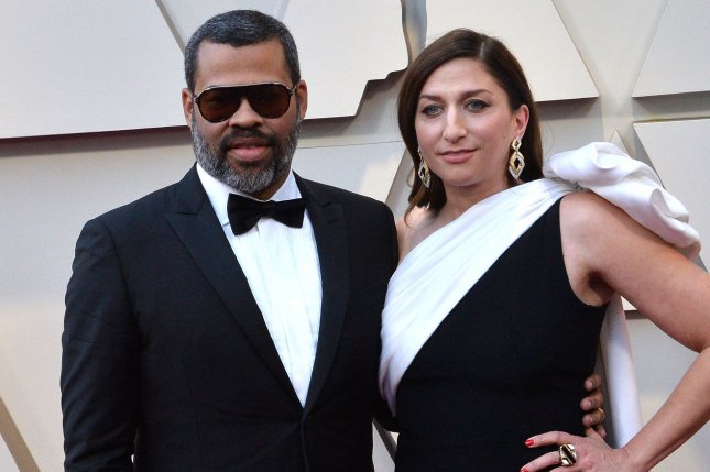 Jordan Peele (L) with his wife Chelsea Peretti. Peele detailed his first meeting with Spike Lee on The Tonight Show. File Photo by Jim Ruymen/UPI