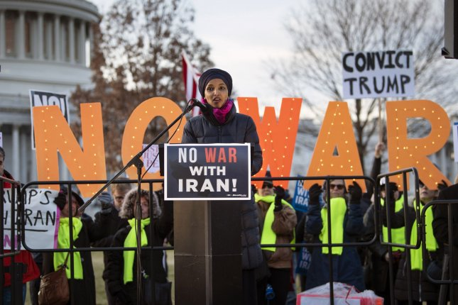 Rep. Ilhan Omar, D-Minn., speaks at a demonstration against war with Iran on Capitol Hill on Wednesday. Photo by Kevin Dietsch/UPI