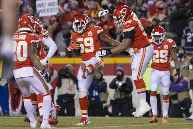 Former Kansas City Chiefs inside linebacker Reggie Ragland (59) won a Super Bowl title with the Chiefs last season. File Photo by Kyle Rivas/UPI
