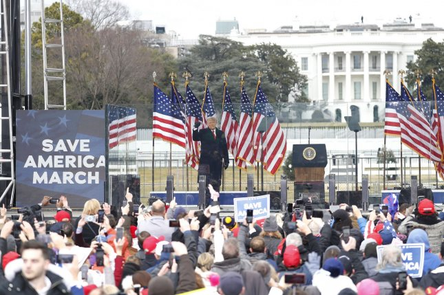 Then-President Donald Trump appears at the Save America March in front of the White House, on the Ellipse in Washington, D.C., on January 6. After the rally, hundreds of supporters marched to the Capitol and broke into the building. File Photo by Shawn Thew/UPI/Pool