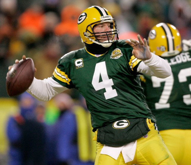 Brett Favre, whown in a playoff game Jan. 20, 2008. (UPI Photo/Brian Kersey)