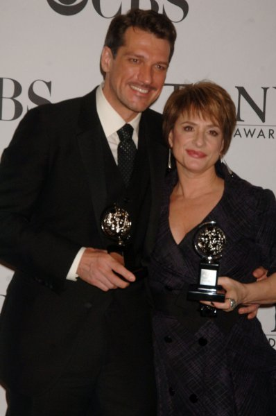 Actors Paulo Szot, Best Actor Musical South Pacific, Patti Lupone, Best Actress Musical Gypsy (l to r) show their Tony Awards at the 2008 Tony Award ceremonies held at New York's Radio City Music Hall on June 15, 2008. (UPI Photo/Ezio Petersen)