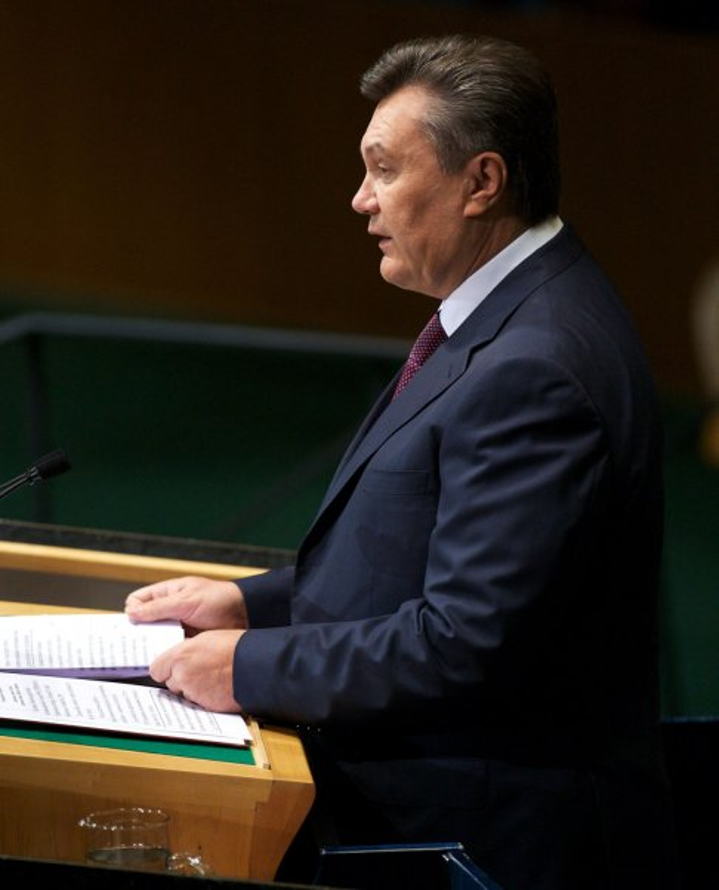 Viktor Yanukovych, president of Ukraine, addresses the 67th session of the General Assembly at the United Nations on September 26, 2012 in New York City. UPI/Monika Graff