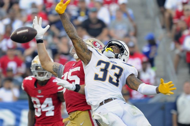 Los Angeles Chargers safety Derwin James (33) breaks up a pass to San Francisco 49ers tight end George Kittle in the second half on Sunday at StubHub Center in Carson, California. Photo by Lori Shepler/UPI