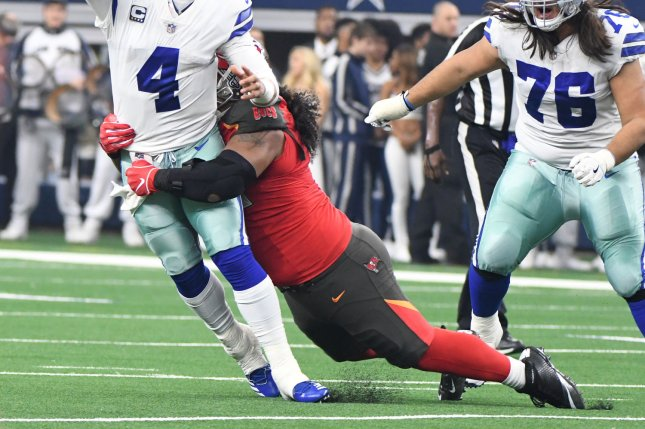 Tampa Bay Buccaneers defensive lineman Vita Vea suffered the injury during blocking drills Tuesday. File Photo by Ian Halperin/UPI