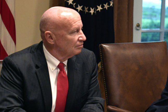 Rep. Kevin Brady of Texas, shown at the White House in a meeting with President Donald Trump on July 17, 2018, said Tuesday he tested positive for the coronavirus. Photo by Mike Theiler/UPI