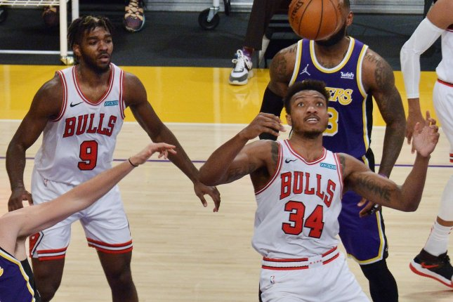 The Chicago Bulls' game on Tuesday against the Boston Celtics was postponed due to the Celtics not having enough players to play because of the NBA's COVID-19 protocol. File Photo by Jim Ruymen/UPI