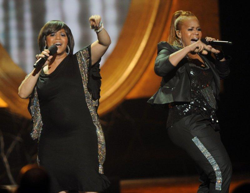 Gospel music duo Mary Mary, shown in a 2010 file photo, won five awards at the Stellar Gospel Awards in Nashville. UPI/Jim Ruymen