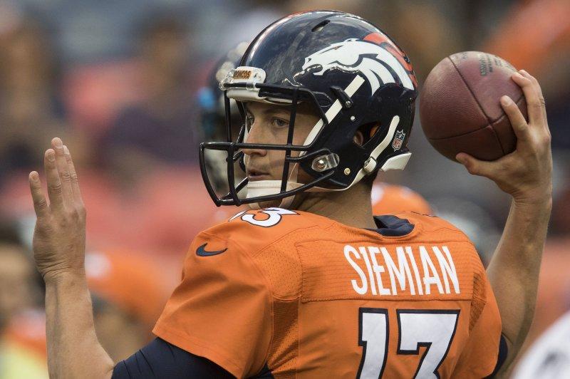 Denver Broncos starting quarterback Trevor Simian. Photo by Gary C. Caskey/UPI