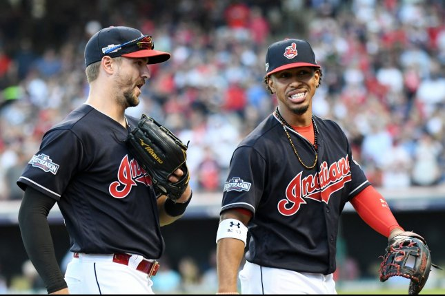 Cleveland Indians' Lonnie Chisenhall and Francisco Lindor. Photo by Kyle Lanzer/ UPI