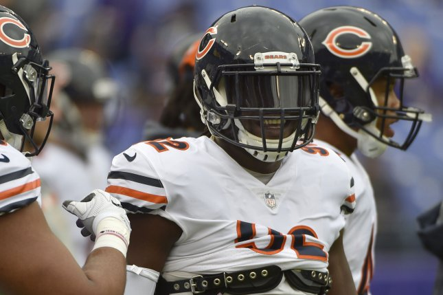 Chicago Bears linebacker Pernell McPhee (C) warms up prior to facing the Baltimore Ravens in an NFL game at M&T Bank Stadium in Baltimore, Maryland, October 15, 2017. File photo by David Tulis/UPI