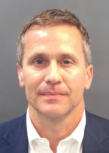 Missouri Gov. Eric Greitens, pictured in a booking photo, said he won't resign -- despite pressure from House and Senate leadership. Photo courtesy St. Louis Circut Attorney/UPI