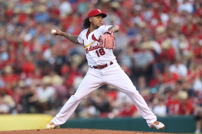 St. Louis Cardinals starting pitcher Carlos Martinez delivers a pitch to the Cincinnati Reds in the second inning on July 13, 2018 at Busch Stadium in St. Louis. Photo by Bill Greenblatt/UPI