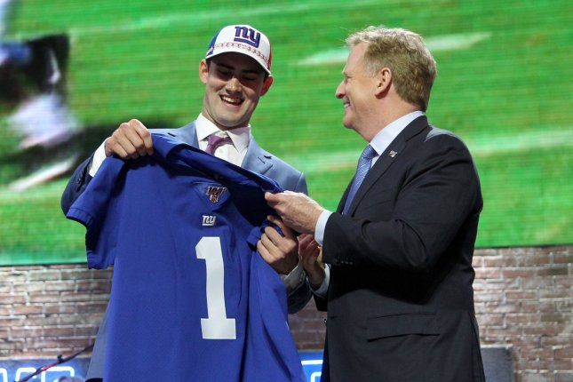Giants quarterback Daniel Jones was the No. 6 overall pick in the 2019 NFL Draft. File Photo by John Sommers II/UPI
